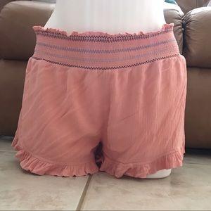 Derek Heart Salmon Colored Smocked Shorts Sz M
